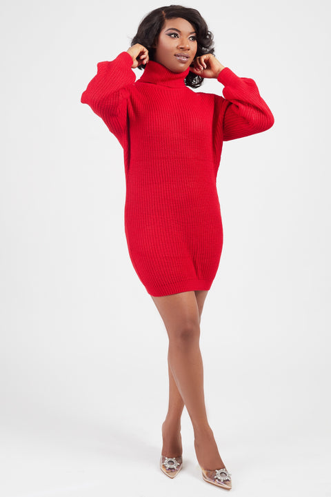 Oversized Red Sweater Dress