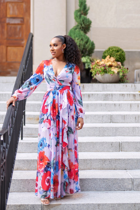 Ruffled Up Floral Maxi Dress