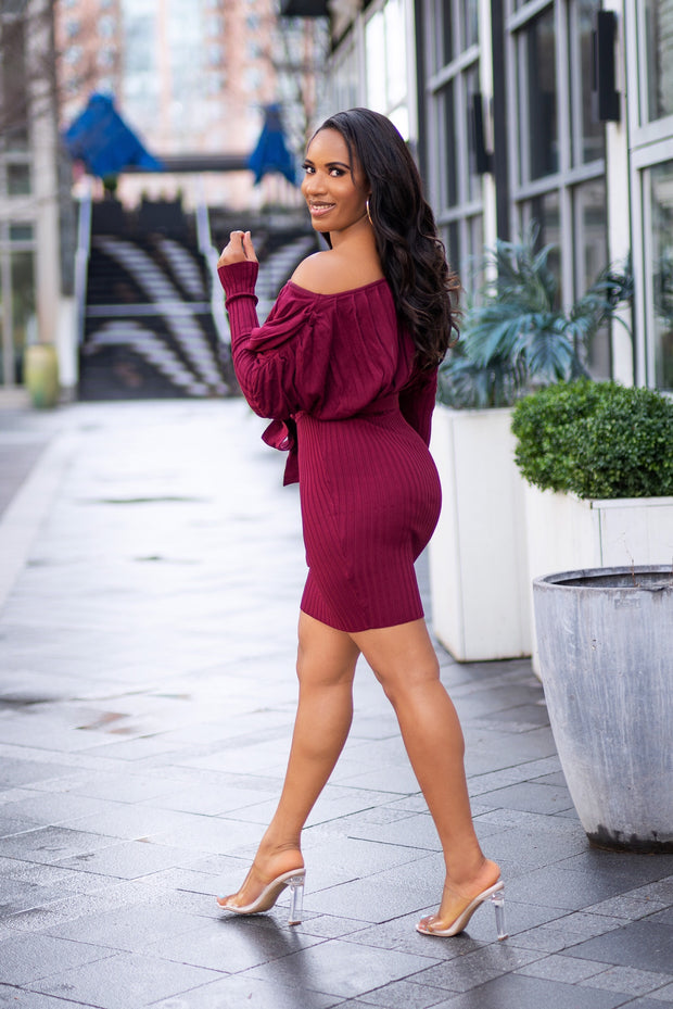 Off Shoulder Knit Mini Dress