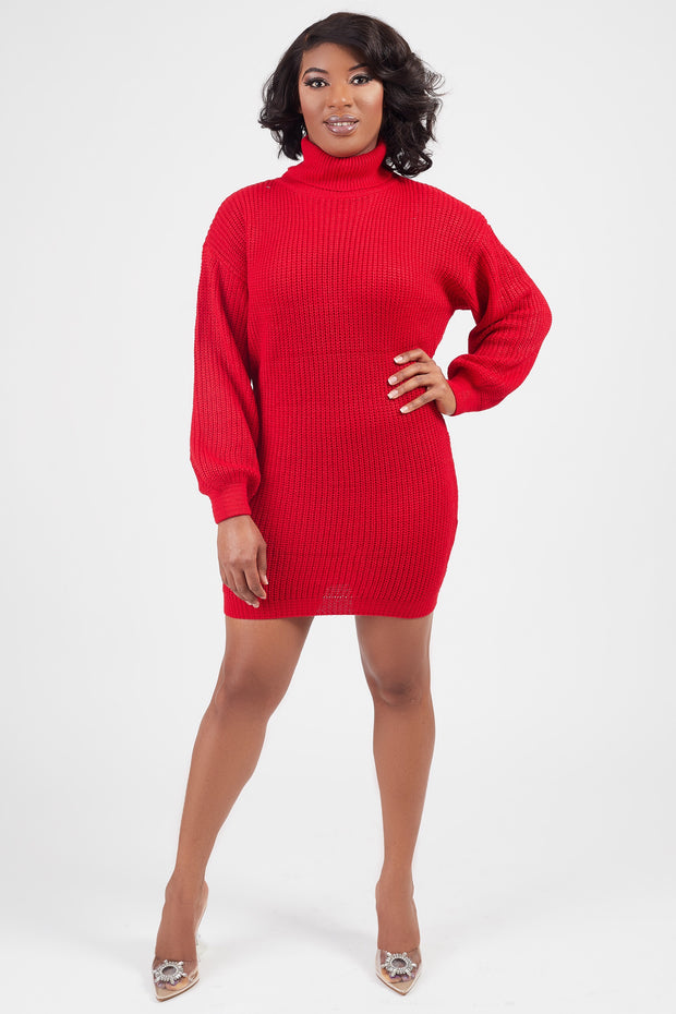 Oversized Red Sweater Dress - FINAL SALE