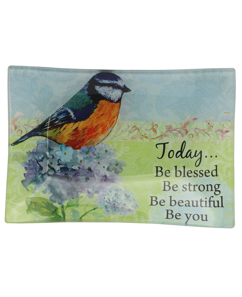 Today Be Blessed Glass Bird Tray