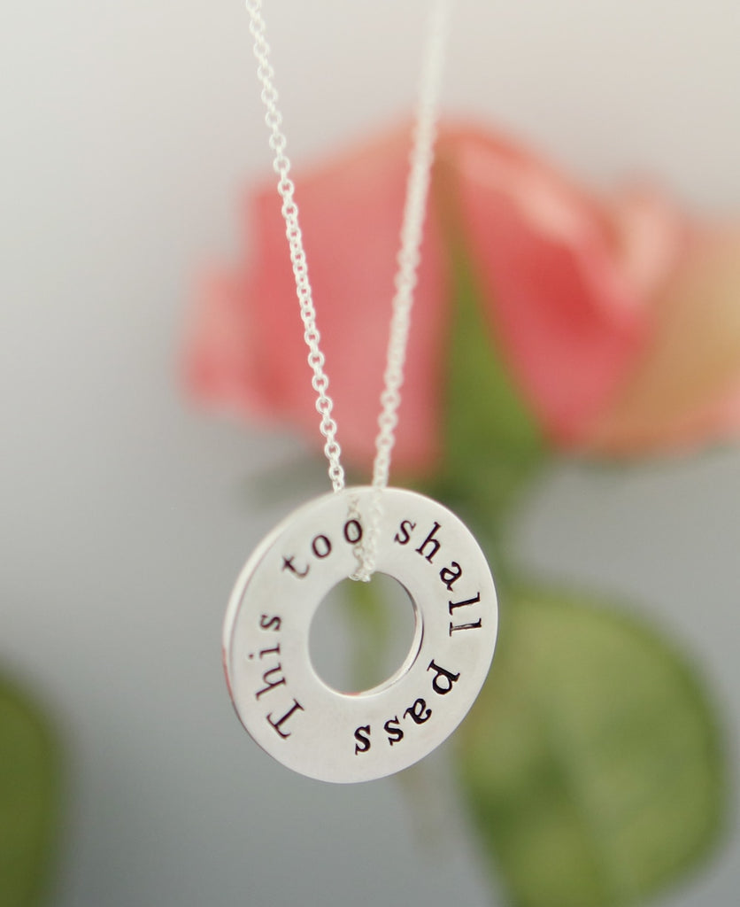 This Too Shall Pass Reversible Mantra Necklace
