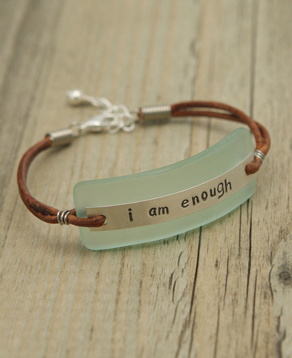 Aqua Glass I Am Enough Bracelet (USA)
