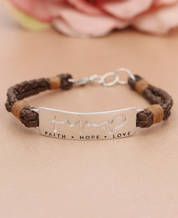Faith, Hope, Love Leather Bracelet