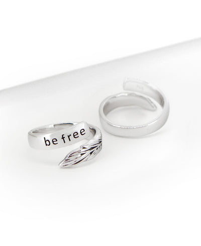 Be Free Feather Silver Ring