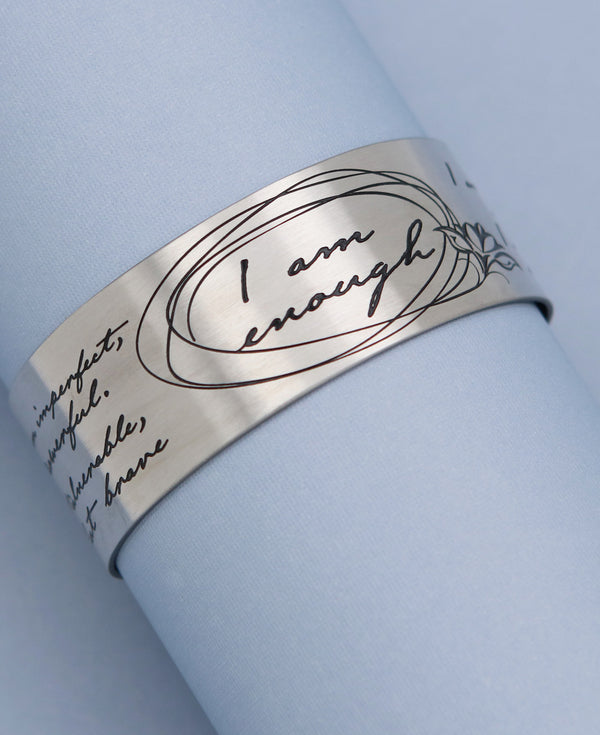 I am enough inspirational cuff bracelet