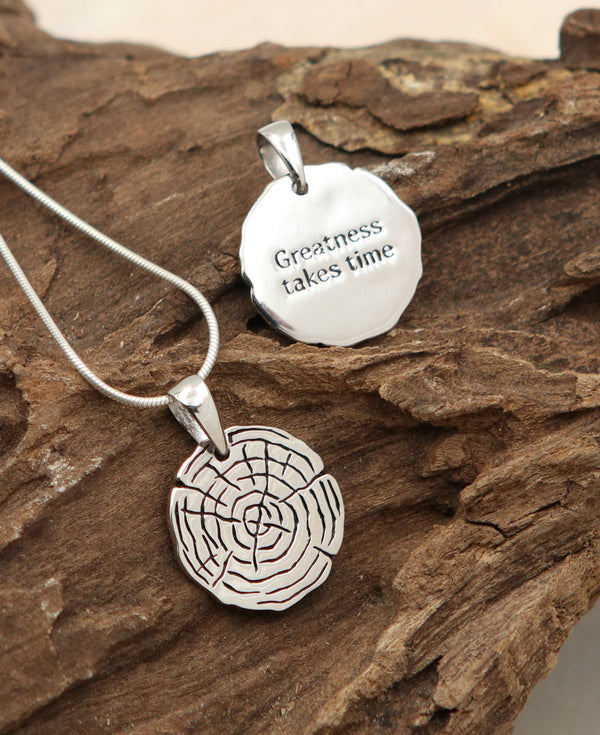 Greatness Takes Time: Lesson from Tree inspirational Pendant