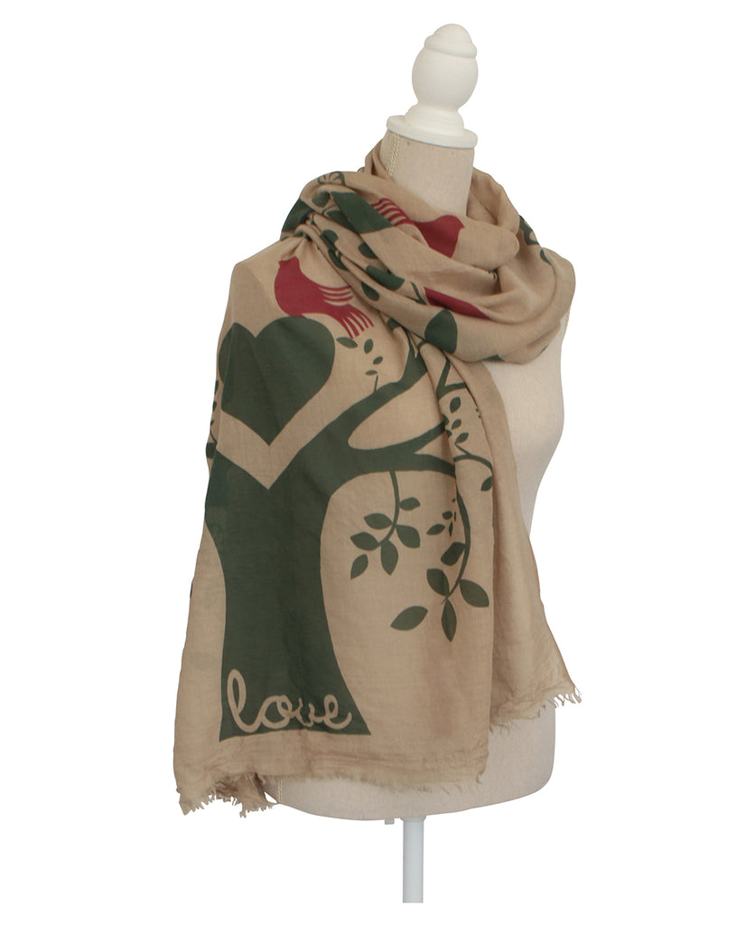 Tree of Love Shawl Scarf in Green