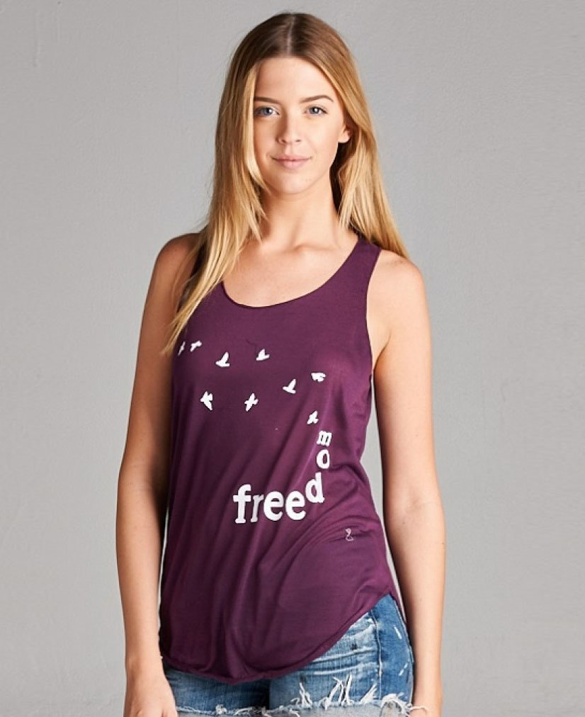 Freedom Tank Top with Bird Print