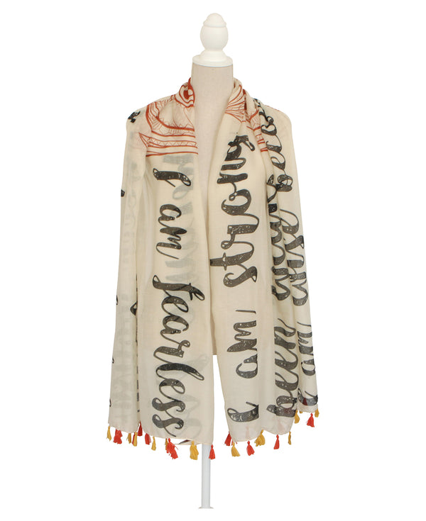 I Am Strong Inspirational Owl Mantra Scarf