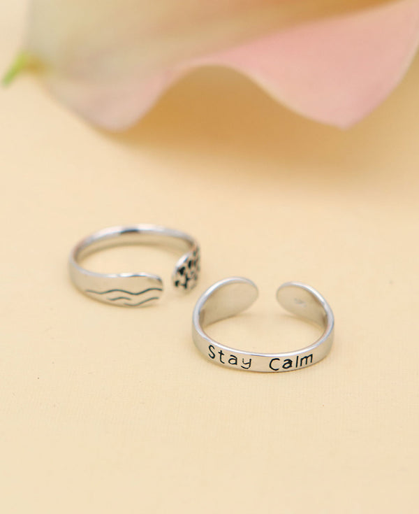 Mindful Ring Stay Calm Inspirational Jewelry