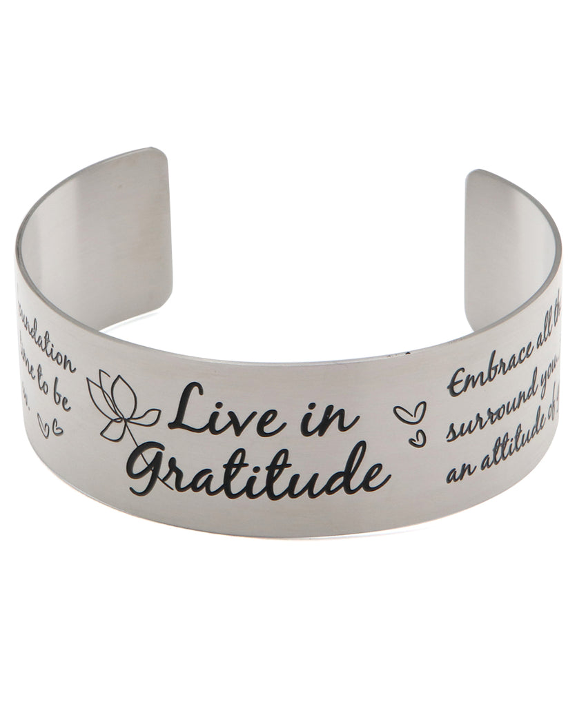 Live in Gratitude Stainless Steel Adjustable Inspirational Cuff Bracelet