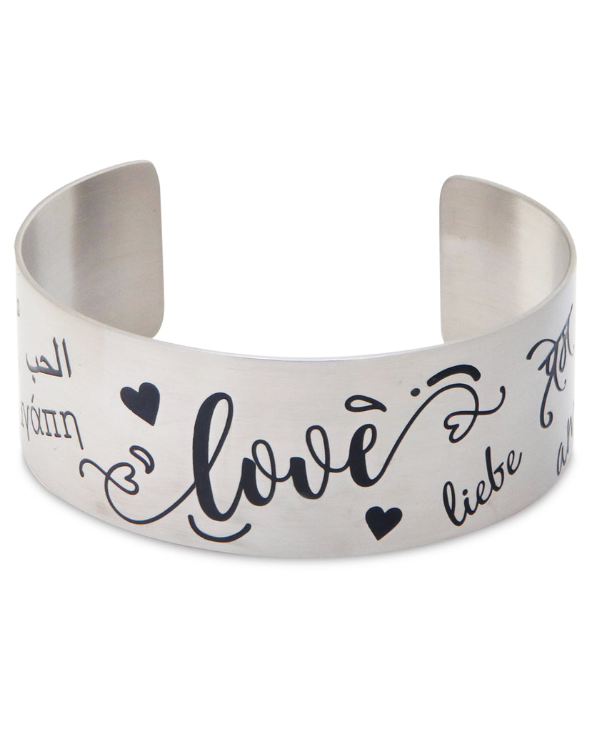 Love in Many Languages Stainless Steel Adjustable Cuff Bracelet