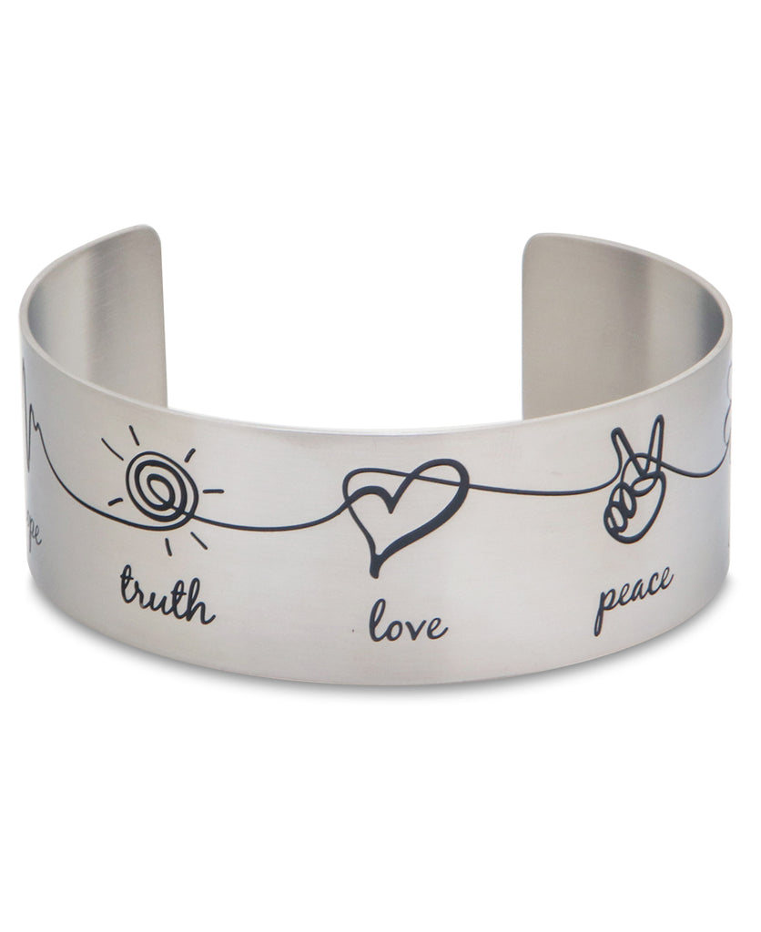 Faith Hope Truth Love Peace Joy Gratitude Stainless Steel Cuff Bracelet