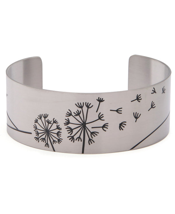 Just Breathe Hidden Inspirational Cuff Bracelet in Stainless Steel