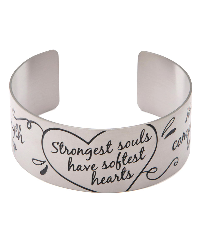 Strongest Souls Have Softest Hearts Inspirational Cuff Bracelet