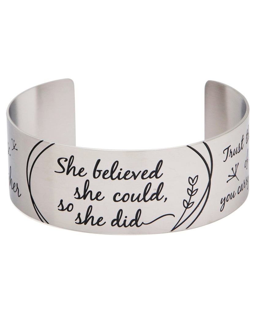 She Believed She Could, So She Did Inspirational Cuff Bracelet