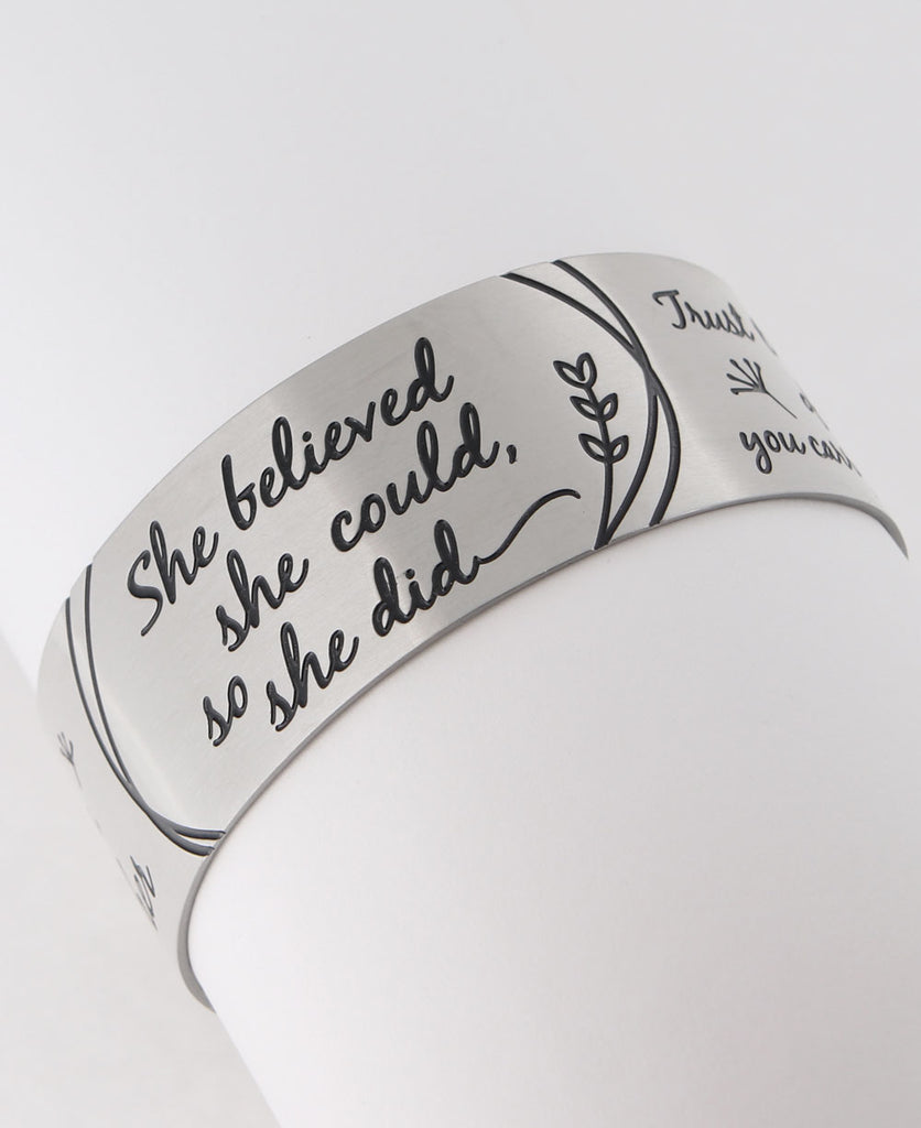 She believed she could, so she did inspirational bracelet