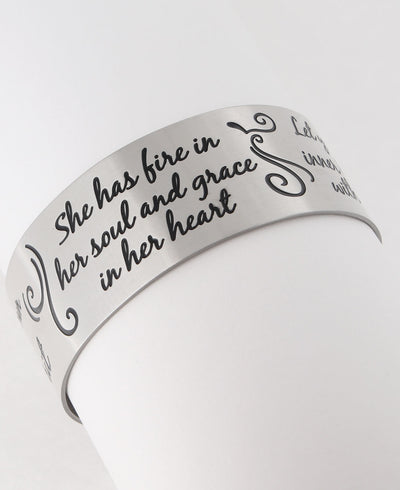 She has fire in her soul and grace in her heart inspirational bracelet