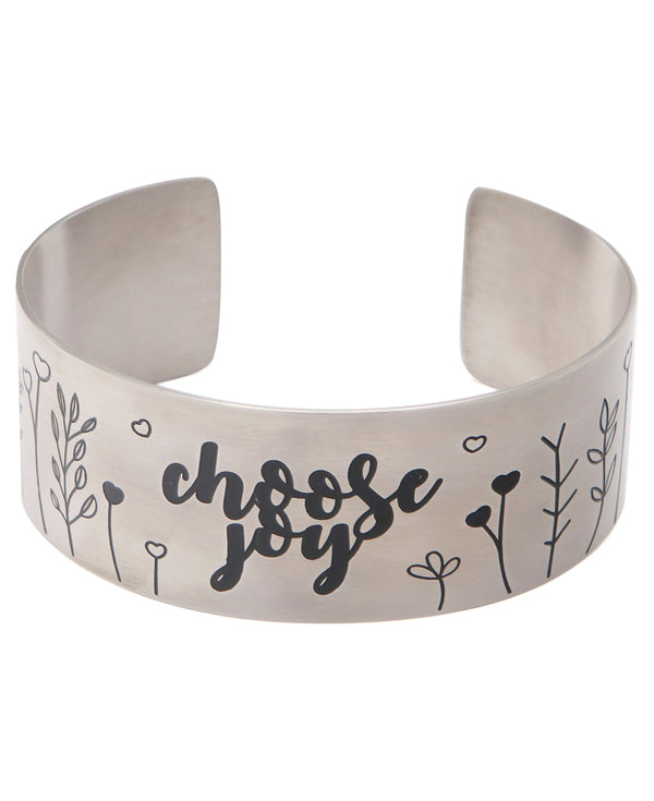 Choose Joy Boho Inspired Stainless Adjustable Cuff Bracelet