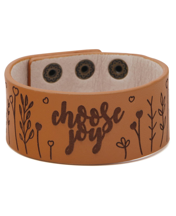 Choose Joy Boho Leather Snap Bracelet