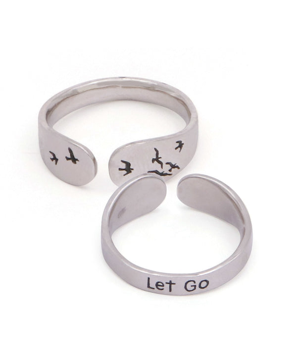 Let Go Sterling Silver Mantra Ring
