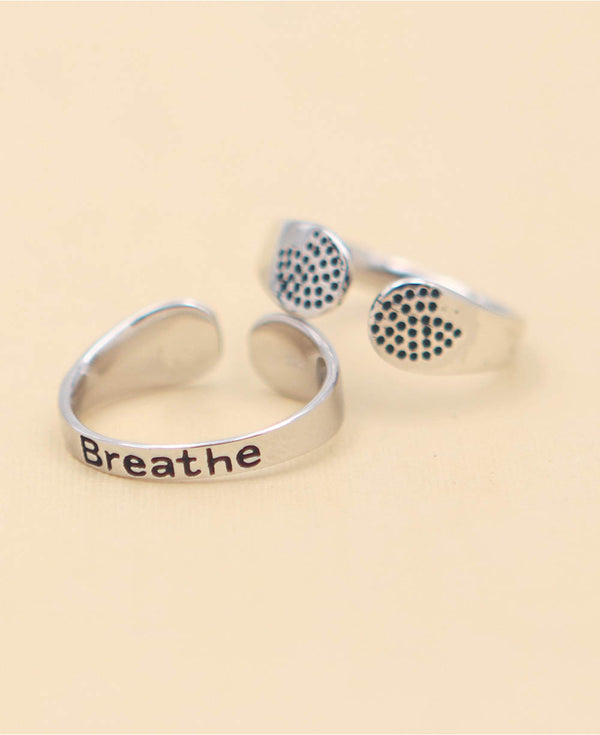 Breathe Inspirational Ring Sterling Silver