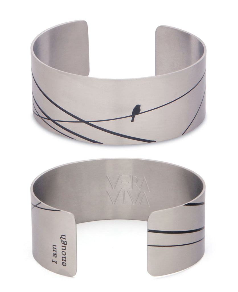 Hidden Mantra I Am Enough Bird Wide Cuff Bracelet, Stainless Steel