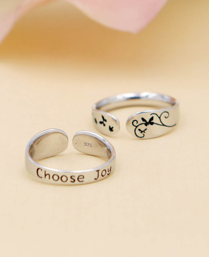 Choose Joy Ring Sterling Silver Inspirational Jewelry