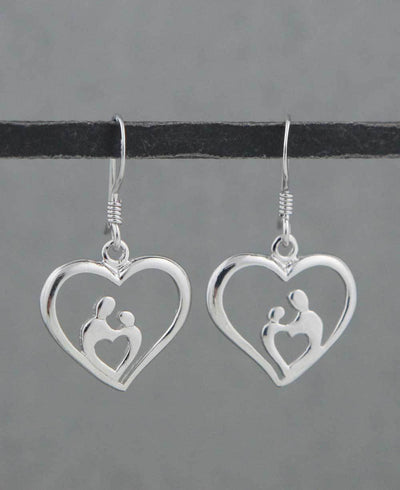 Mom and Child Heart Earrings