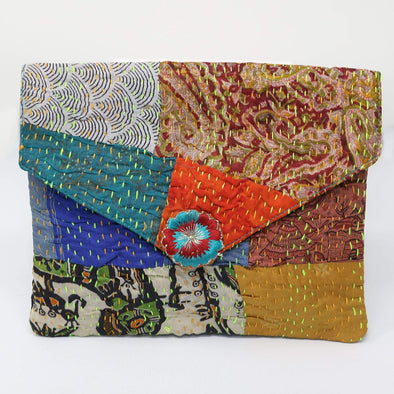 Accessories Kantha Envelope Clutch - Orange and Teal