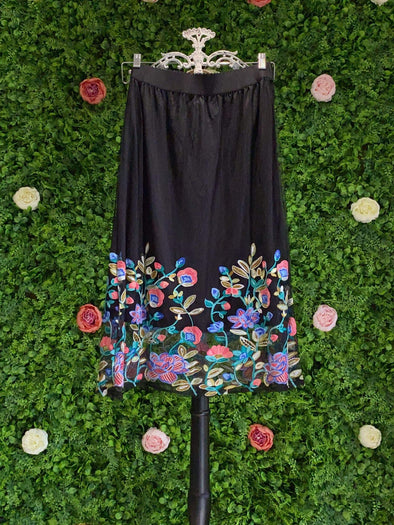 Apparel BLACK MESH MULTI COLOR SKIRT