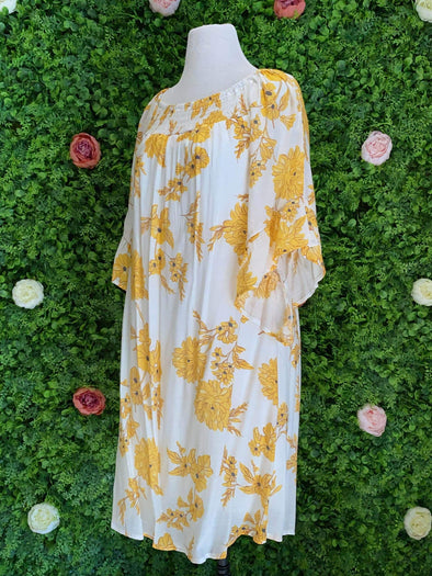 Apparel Cream and Mustard Floral Dress