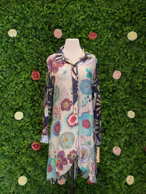 Apparel Floral Burst Long Sleeve Tunic