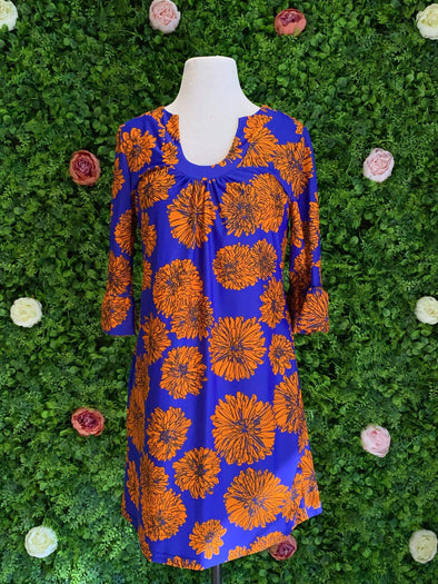 Apparel Long Sleeve Blue and Orange Floral Shift Dress