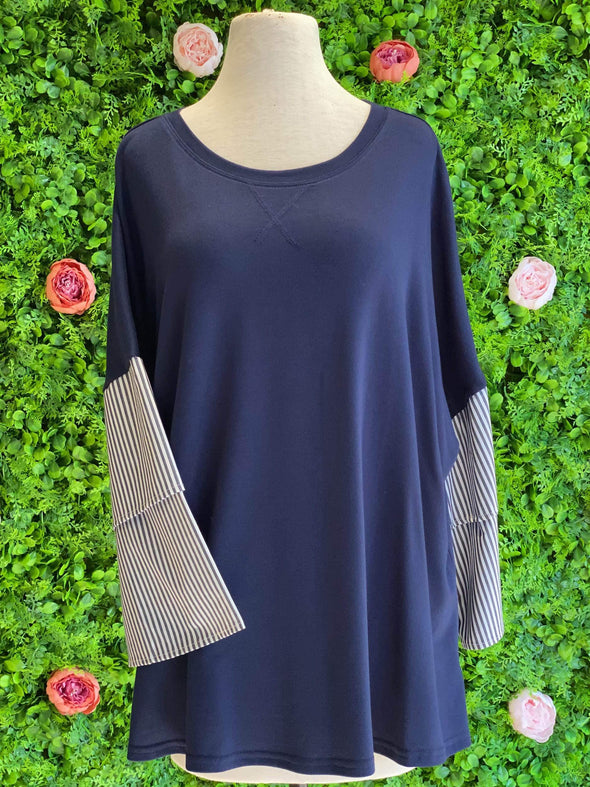 Apparel Mixed Media Navy Stripe Top - Plus