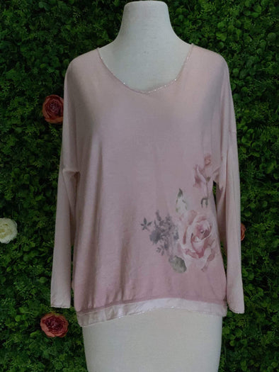 Apparel Soft Pink Floral Sweater - One Size