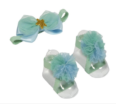 Children Mermaid Headband and Ribbon Sandals (0-12 months)