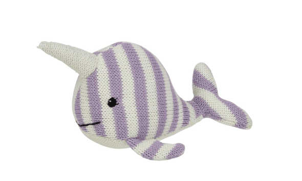 Children Striped Knit Narwhal Rattle