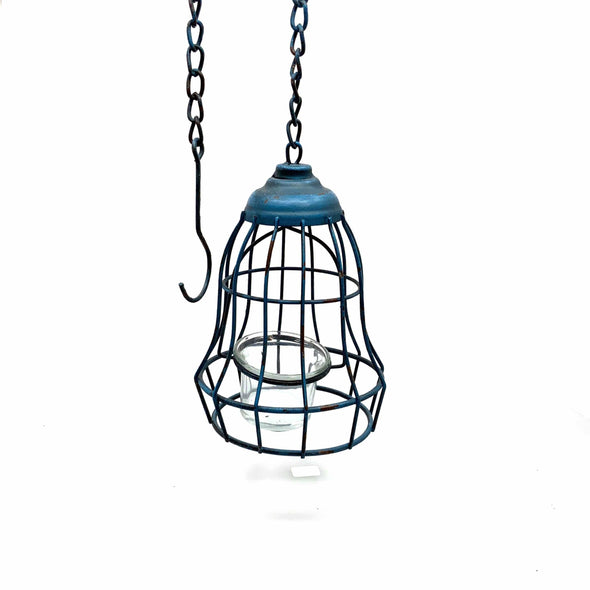 Home Distressed Hanging Votive -Blue