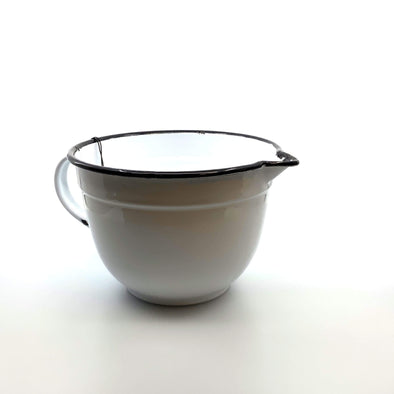 Kitchen Black and White Enameled Batter Bowl 2.5Q