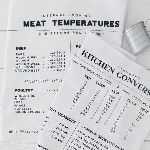 Kitchen Meat Temperatures Tea Towel