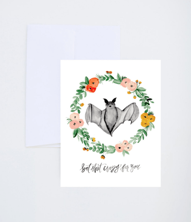 Stationery Bat Wreath Love Card