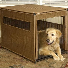Wicker Dog Crate - Small/Dark Brown