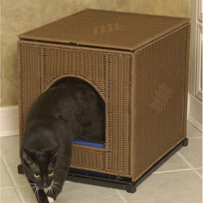 Wicker Litter Box Cover - Large/Dark Brown