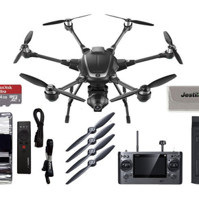 Yuneec Typhoon H Hexacopter RTF with CGO3+ 4K Camera, ST16, 1 Battery, Free Wizard Wand Controller Plus Free 64GB Micro SD and Jestik Microfiber Cloth