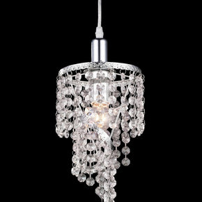 Z-Lite Petite One Light Mini Chandelier, Metal Frame, Chrome Finish and Crystal Shade of Glass Material