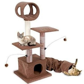 Penn Plax Activity Lounging Tower with Tunnel and Hide Away