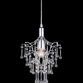 Z-Lite Petite One Light Mini Chandelier, Metal Frame, Chrome Finish and Crystal Shade of Glass Material 51046