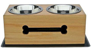 Wooden Bone Elevated Dog Bowls - Large